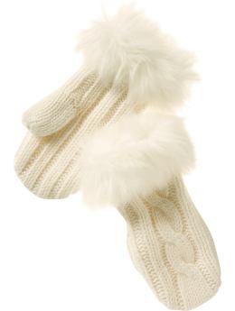 Gap Cable knit fur mittens